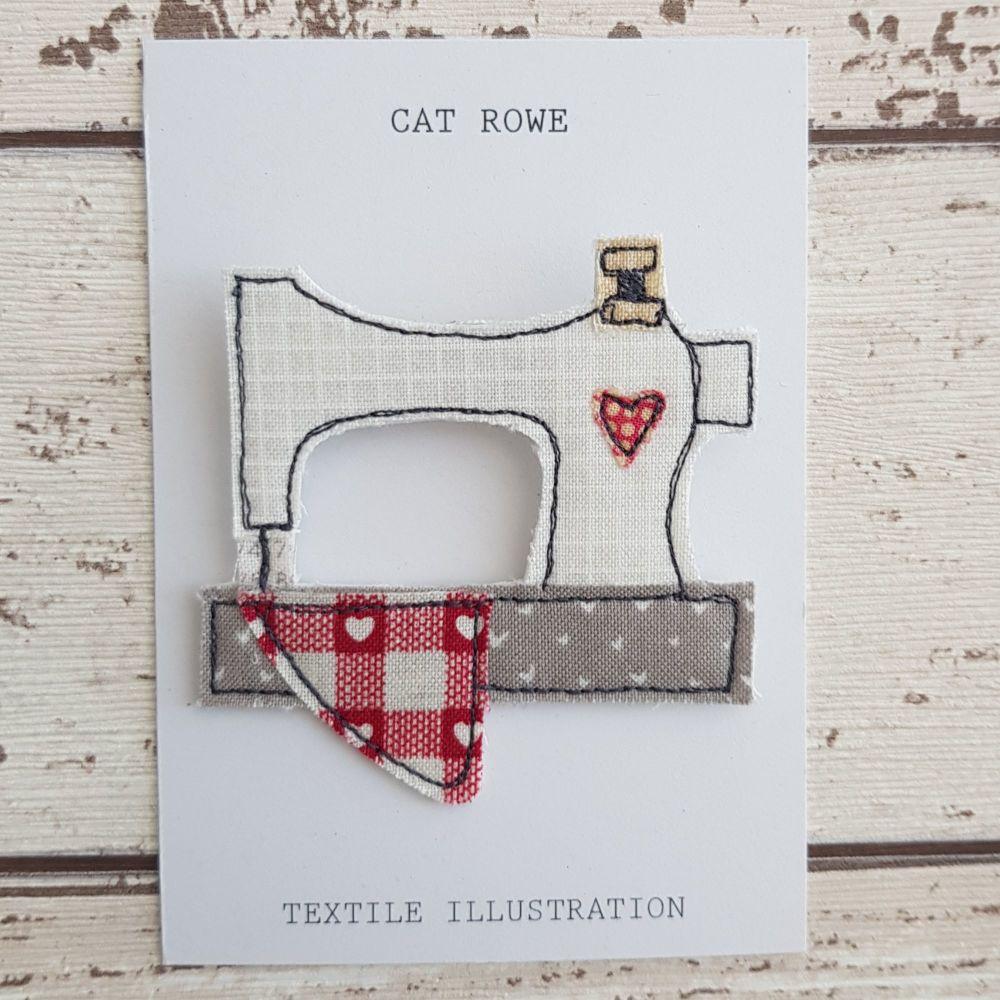 Sewing Machine Brooch - Patchwork Heart Quilt