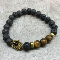 Lava Stone - Hamsa & Tigers Eye Gemstone - Diffuser Bracelet