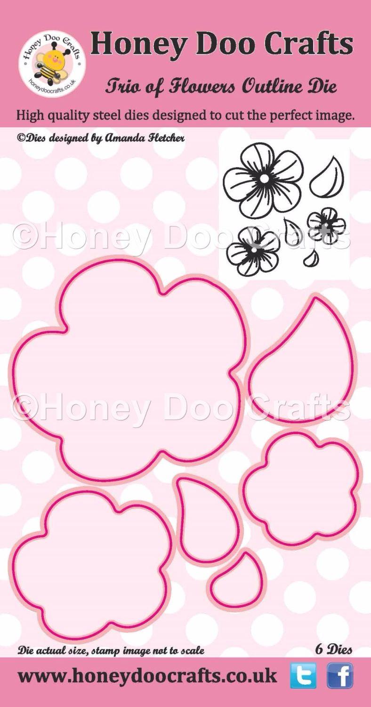 Honey Doo Crafts - Trio of Flowers Outline Die