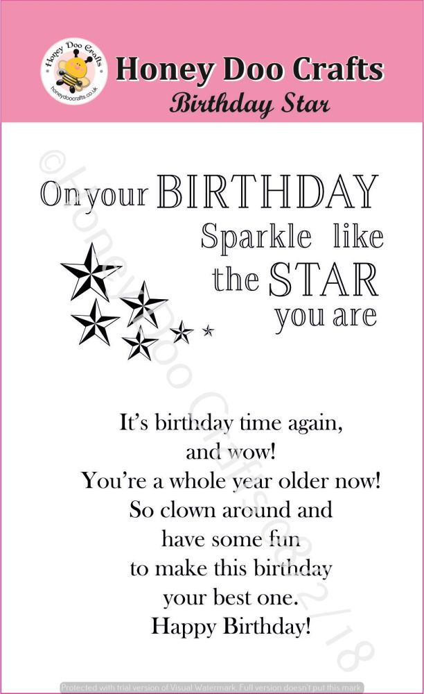 Birthday Star  (A7 Stamp)