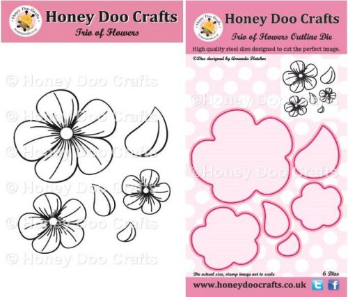 Trio of Flowers Stamp and Outline Die Set
