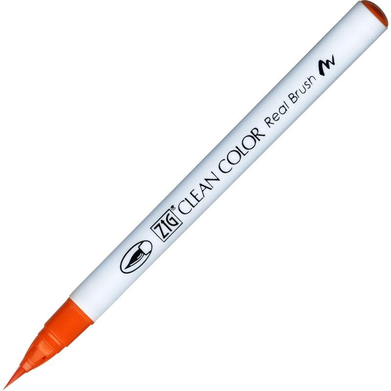 Kuretake Zig Clean Colour Pen With Real Brush Nib - Orange 070
