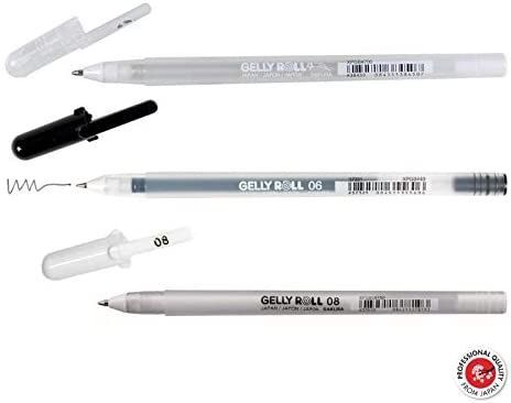 Sakura Collection of 3 Gelly Roll Pens - Black,White and Glitter