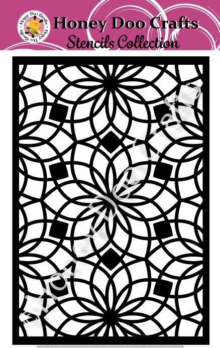 Honey Doo Crafts Stencils - Floral Tile    (A5 Stencil)
