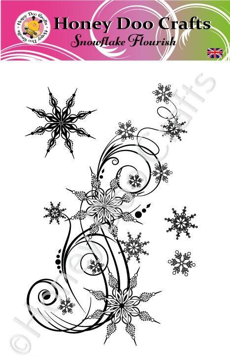 New - Snowflake Flourish   (A6 Stamp)