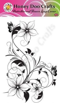 Butterflies and Flowers Large Corner  (A6 Stamp)