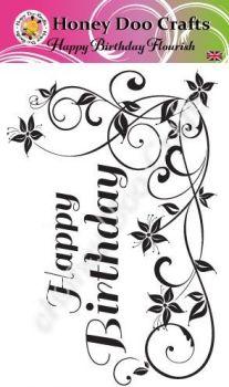 Happy Birthday Flourish   (A6 Stamp)
