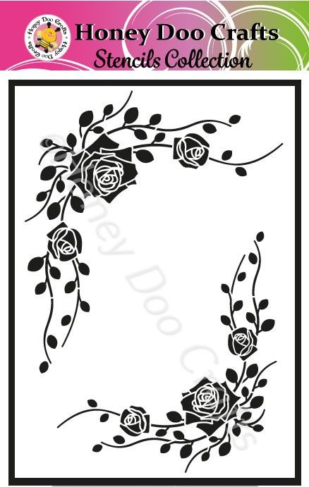 Honey Doo Crafts Stencils - Corner Rose  (A5 Stencil)