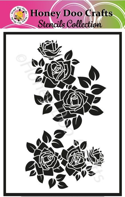 Honey Doo Crafts Stencils - Rose Bouquet  (A5 Stencil)