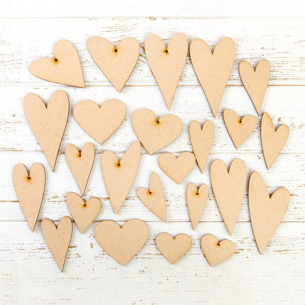 MDF Assorted Hearts -Pack of 24