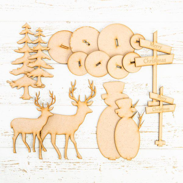 MDF Stand Up Christmas Embellishments PK 8