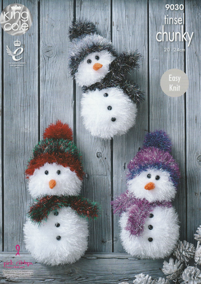 Tinsel Snowmen Knitting Pattern