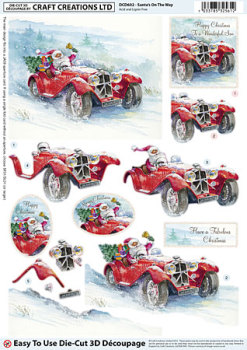 Santa's On The Way Diecut Decoupage Sheet