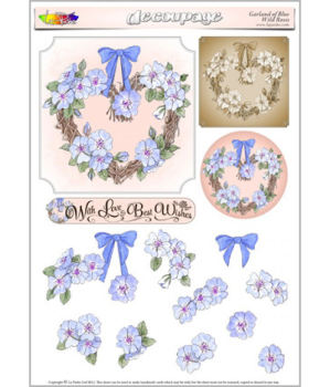 Garland of Blue Wild Roses Decoupage Sheet