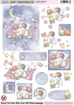 Baby Girl Diecut Decoupage Sheet