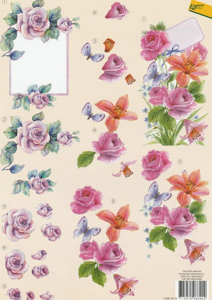 Roses Decoupage Sheet