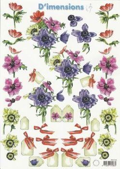Assorted Flowers Decoupage Sheet