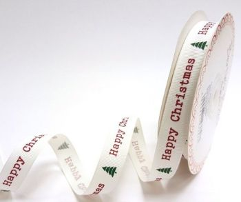 Happy Christmas Grosgrain Ribbon