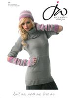 Cowl Neck Sweater Dress, Fingerless Gloves & Hat Knitting Pattern