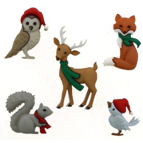 Woodland Holiday Novelty Buttons