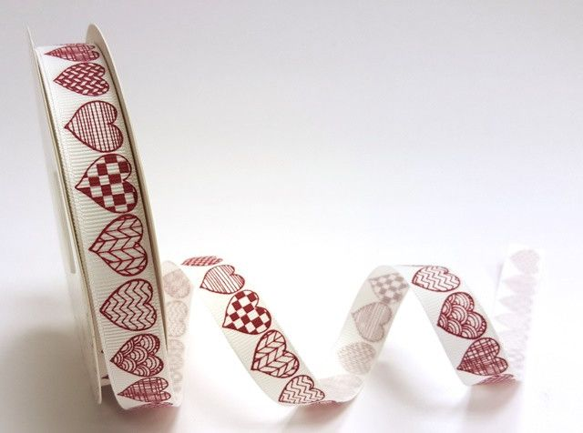 Red Patterned Hearts Grosgrain Ribbon