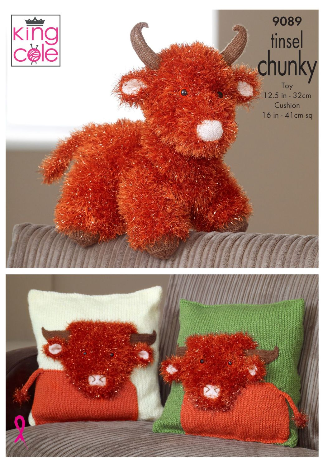 Tinsel Highland Cow & Cushion Covers
