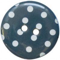 13mm Blue Polka Dot Buttons