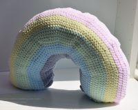 Crocheted Rainbow Cushion