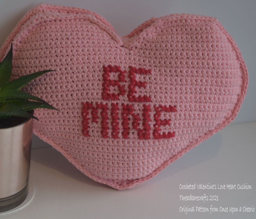 Crocheted Valentine Cushion - Made to Order