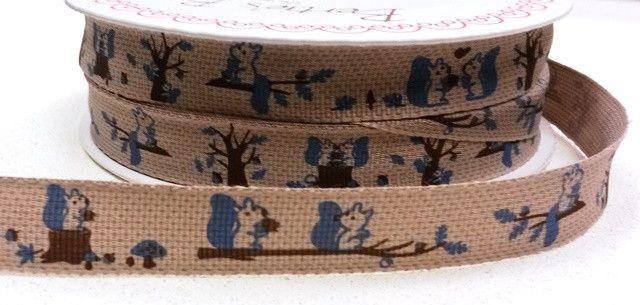 Squirrel Print Ribbon - Bertie's Bows