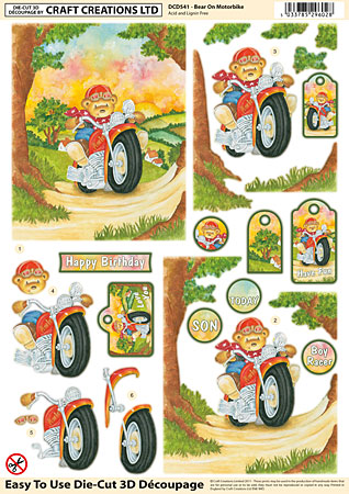 Bear on Motorbike Diecut Decoupage Sheet
