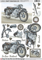 Ariel Square Four Motorbike Diecut Decoupage Sheet