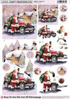 Santa's Car Diecut Decoupage Sheet