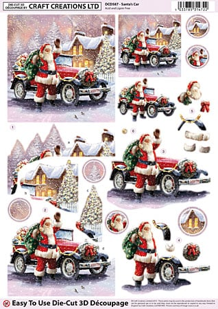 Santa's Car Diecut Decoupage Sheet