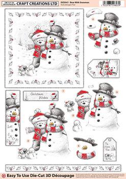 Bear with Snowman Diecut Decoupage Sheet