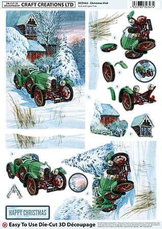 Christmas Visit Diecut Decoupage Sheet