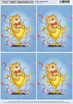 Bear in Trophy Classic Decoupage Sheet