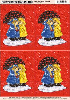 Bears, Umbrella & Hearts Classic Decoupage Sheet