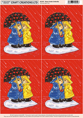 Bears, Umbrella & Hearts 4 Classic Decoupage Sheet