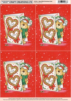 Bear - Christmas Card Classic Decoupage Sheet