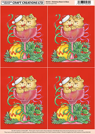 Bears Christmas Champagne Glass Classic Decoupage Sheet