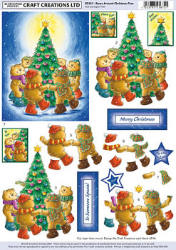 Bears Around Christmas Tree SBS Decoupage Sheet