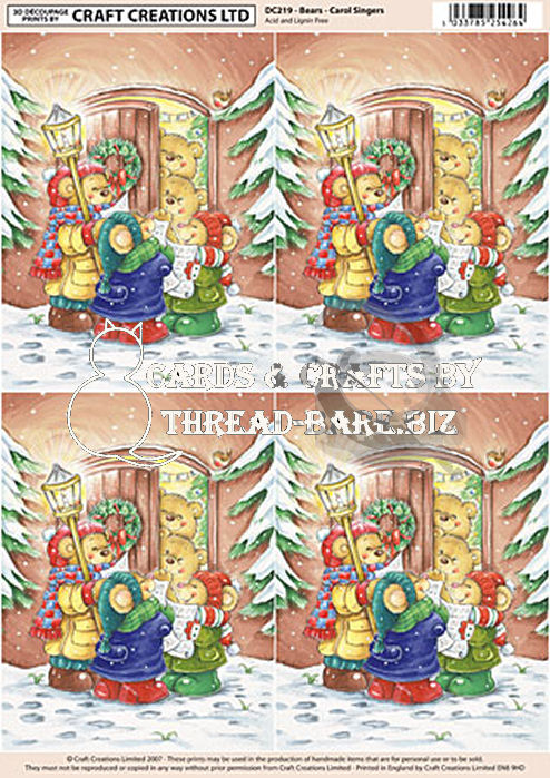 Bears Carol Singing Classic Decoupage Sheet