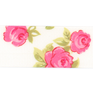 Rose Print Grosgrain Ribbon