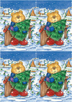 Bear with Tree Classic Decoupage Sheet