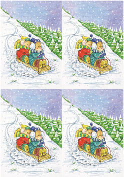 Bears - Christmas Sled Decoupage Sheet