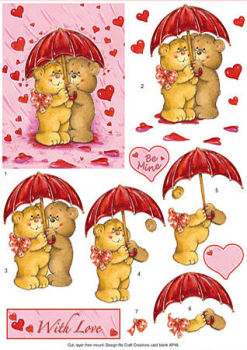 Bears, Umbrella & Hearts SBS Decoupage Sheet