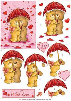 Bears, Umbrella & Hearts SBS Decoupage Sheet