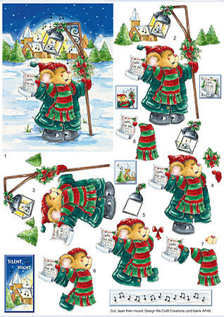 Carol Singing Mouse SBS Decoupage Sheet