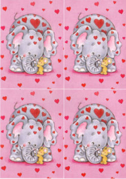Elephant & Mouse Classic Decoupage Sheet
